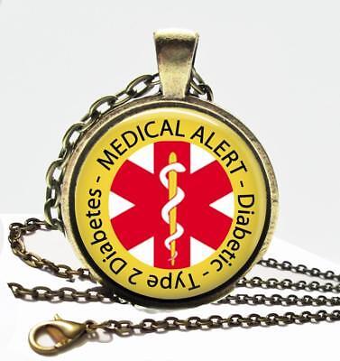 Diabetic Type 2 Diabetes Medical Alert Necklace Glass Top Bronze Pendant   Chain