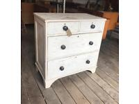 Distressed Shabby Chic Painted Victorian Pine Chest Of Drawers