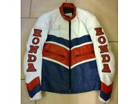 Classic Honda leather motorcycle jacket in HRC colours