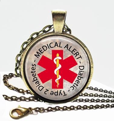 Diabetic Type 2 Diabetes Medical Alert Necklace Glass Top Pendant   Chain