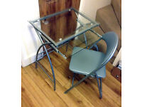 Silver frame metal and glass top computer desk and chair