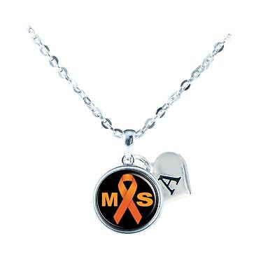 Custom Multiple Sclerosis Awareness Ribbon Silver Necklace Jewelry Initial ()