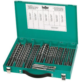 Heller 40 Piece SDS+ Bionic Pro Hammer Drill Bit Set 6-12mm in Carry Metal Case - German Made