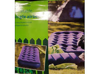 Single Airbeds x 2 - Velour Flocked Inflatable Colour: Navy Perfect for Camping / Guests