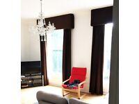 Super Heavy, Rich Brown Velvet Curtains, Blackout Lined, 265cm drop x 180cm wide - 2 PAIRS