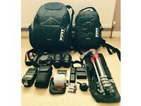 1x Canon 70D 20.2 MP DSLR Camera. 2x Lens. 1x Flash. 1x Tripod. 2x Bags. Collection Only.