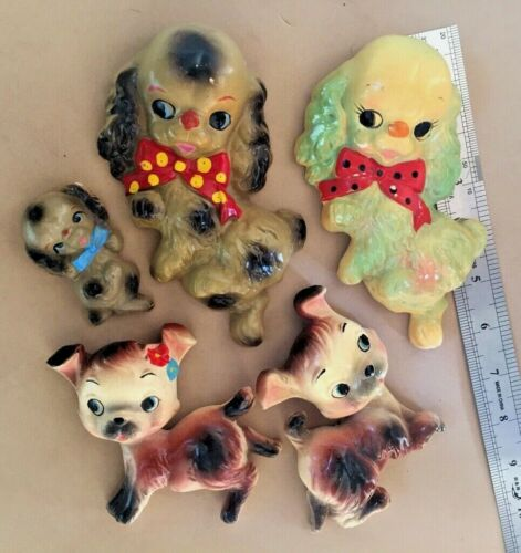LOT of 5 CHALKWARE DOG PUPPY ANTHROPOMORPHIC VTG WALL PLAQUES Miller ?