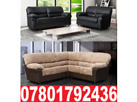 NEW LEATHER/FABRIC CORNER OR 3+2 SOFA BLACK GREY BROWN BEIGE 64083