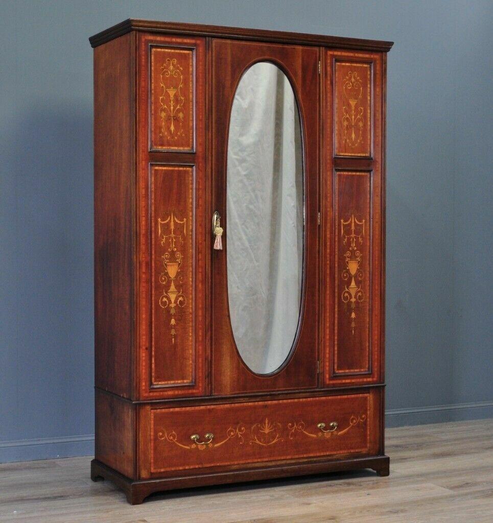buy popular df3ca fd6a3 Large Antique Edwardian Inlaid Mahogany Mirror Door Wardrobe With Drawer  Base | in Forfar, Angus | Gumtree