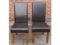 2 x FAUX LEATHER DINING CHAIRS – DARK WOOD LEGS - £5 PER CHAIR