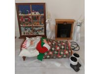 ANIMATED RETRO SLEEPING BREATHING FATHER CHRISTMAS WITH FIREPLACE & WINDOW 21.5""