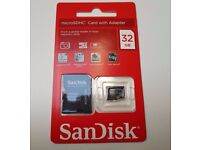 Sandisk Genuine 32Gb Micro SD Card with Adapter / Brand New & Sealed