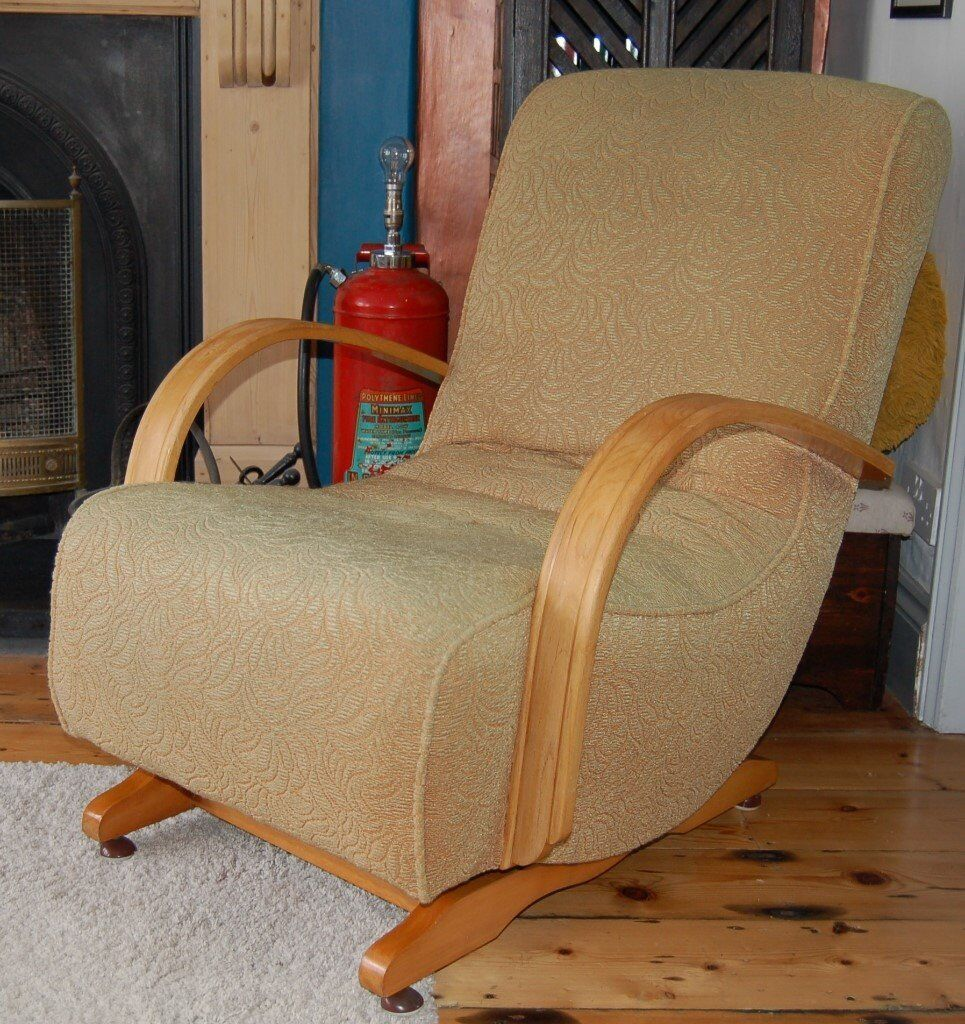 Charmant Art Deco Banana Rocking Chair  Original Fabric. Great Condition