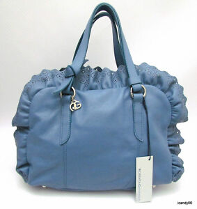 Nwt-Roberta-Gandolfi-Italy-Medium-Size-Leather-Satchel-Bag-Handbag-Blue