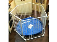 Lindam 6 sided Playpen plus extra stairgate - white metal