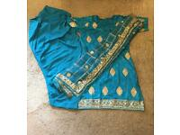 Beautiful blue and gold stitched suit with patiala salwar