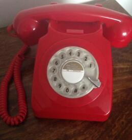 Red Retro style Rotary Telephone