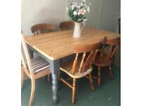 Solid chunky pine farmhouse dining/kitchen table upcycled