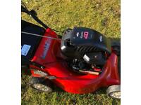 "Rover petrol lawnmower 1st class condition 18"" cut alloy deck large grass box mower fully serviced"