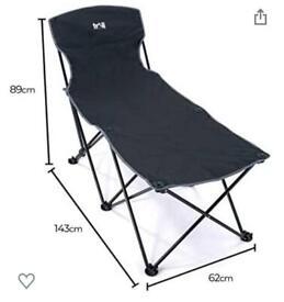 Black Folding Camping/Sun Lounger