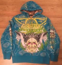 "Brand new authentic Christian Audigier men's luxury ""Winged Skull"" designer hoodie, size Large"