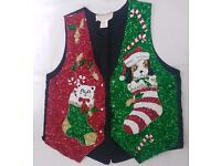 Unisex Sequined Dog, Cat in Stocking, Christmas Waistcoat, Great for Christmas Parties