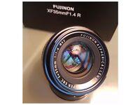 Fuji 35mm f1.4 lens,caps,hood,box etc.immaculate. slight dunt on hood.