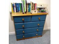 Wooden chest of drawers - H 75cm, W 86cm, D 35cm, light blue PLUS various IKEA furniture