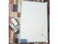 Large two-sided magnetic whiteboard (H: 90cm, w: 61 cm) include markers and magnetic erasers 2