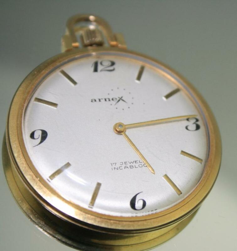 18k Arnex Time 17 Jewels Incabloc Swiss Made Pocket Watch Runs perfectly, FINAL