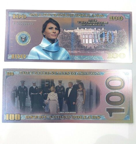 MELANIA TRUMP FLOTUS Commemorative, Rose Silver METALLIC Novelty $100 BANK NOTE