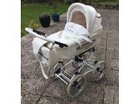 BABY FASHION ISABELL BABY PRAM - WHITE LEATHERETTE