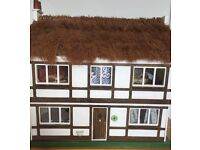 Collectors Piece - Tudor Style Dolls House with Thatched Roof - with furniture