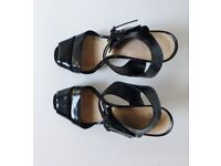 Black Patent Leather Heeled Sandals Topshop 6.5/40