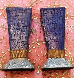 NEW Pair Large Moroccan Candle Holders Blue Glass Mosaic T-Light Copper Aluminium Bistro Cafe Garden