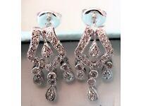 NEW JEWELLERY White Gold Diamond Earrings 375 9ct Ornate Pear Drop Stud 2.7g Design: GIOIA WEDDING