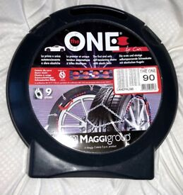 "Snow Chains - Maggi ""The One"" 90. New, unused, trial fitting only - for compact and midsize cars."