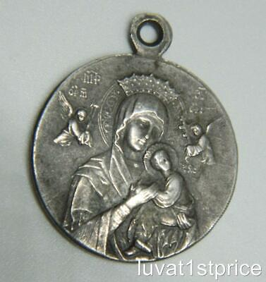 Sterling Silver Engravable Antiqued Our Lady of Perpetual Help Medal