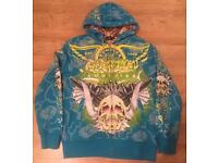 Two large brand new authentic Christian Audigier men's luxury designer hoodies, with rhinestones