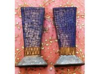 NEW Pair Large Moroccan Candle Holders: Blue Glass Mosaic Tile/Embossed: Copper Aluminium/ Ornament