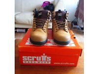 VGC Worn Once Scruffs Hardware Work Boots in box Size 9 Steel Toe Caps Oil Resistant Sole
