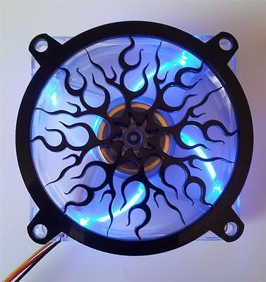 Custom 120mm FLAME Computer Fan Grill Gloss Black Acrylic Co