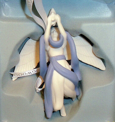 "Wedgwood Blue Jasperware ""Angel w/ Star"" Christmas Ornament - NIB"