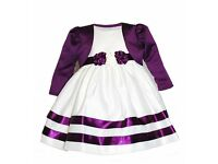 Ivory and Purple Flower Girl Dress and Bolero - age 12-18 months