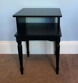 Unusual Retro/ Vintage Black Solid Wooden Hall Stand with shelf detailed Legs