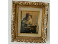 Oil canvas reproduction of original Vermeer The Lacemaker Antique painting
