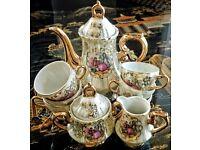 JAPANESE Tea Set- 9pc, Vintage, Rare, Gold, Mother of Pearl, Floral, Porcelain - JAPAN China Pottery