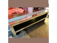 Modern Mirrored Glass Coffee Table or TV Stand with Shelf