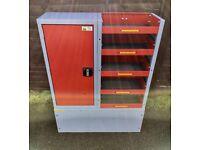 Van Racking / Shelving - BOTT - Heavy Duty - 5 Shelves - 1 Cupboard - Very Good Condition