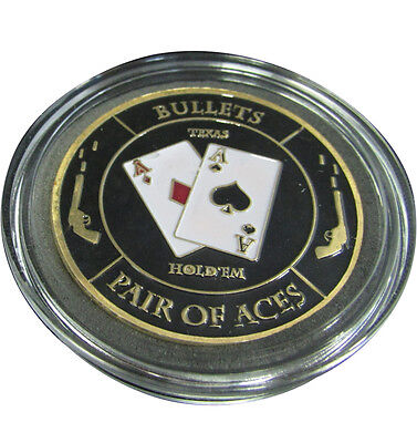 Casino Poker Card Guard Cover Protector Bullets Pair of Aces